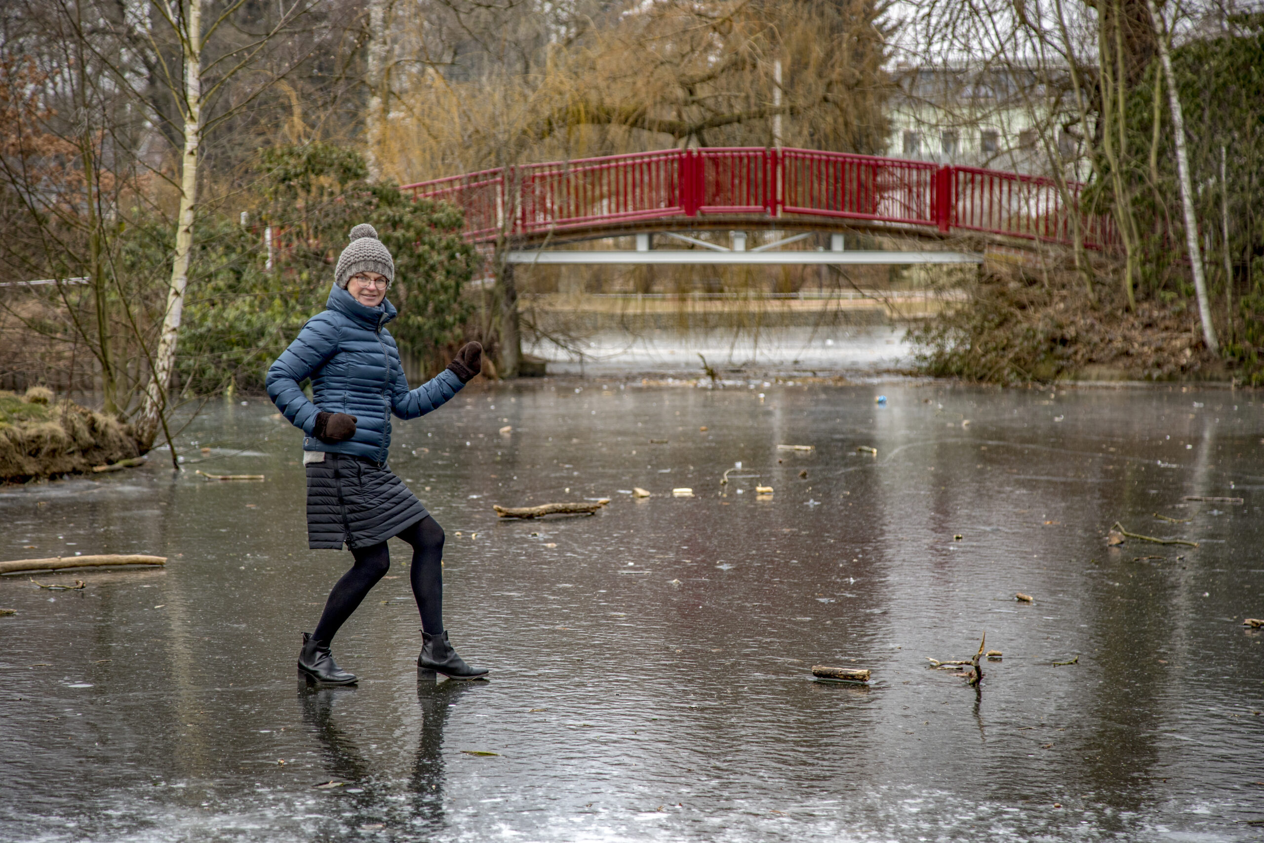 Frozen water safety for recreational land